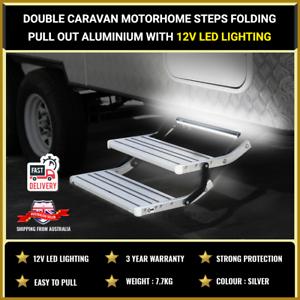 Double Caravan Motorhome Steps Folding Pull Out Aluminium With 12v LED lighting