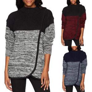 Women-O-Neck-Villus-Top-Patchwork-Shirts-Tunic-Long-Sleeve-Pullover-Sweatshirt-P