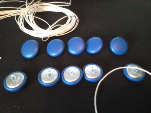UPHOLSTERY BUTTONS.WIRE LOOP BACK+LENGTH OF TWINE 12 X NO30 BLUE VINYL//FAUX EC