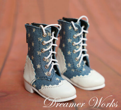 Mimi Collection MSD Doc 1//4 BJD Obitsu Doll BOOTS Blue /& White Splice Shoes