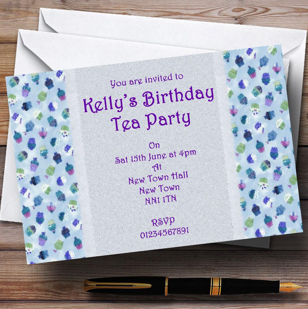 Blau lila Cupcake Vintage Tea Personalised Party Invitations
