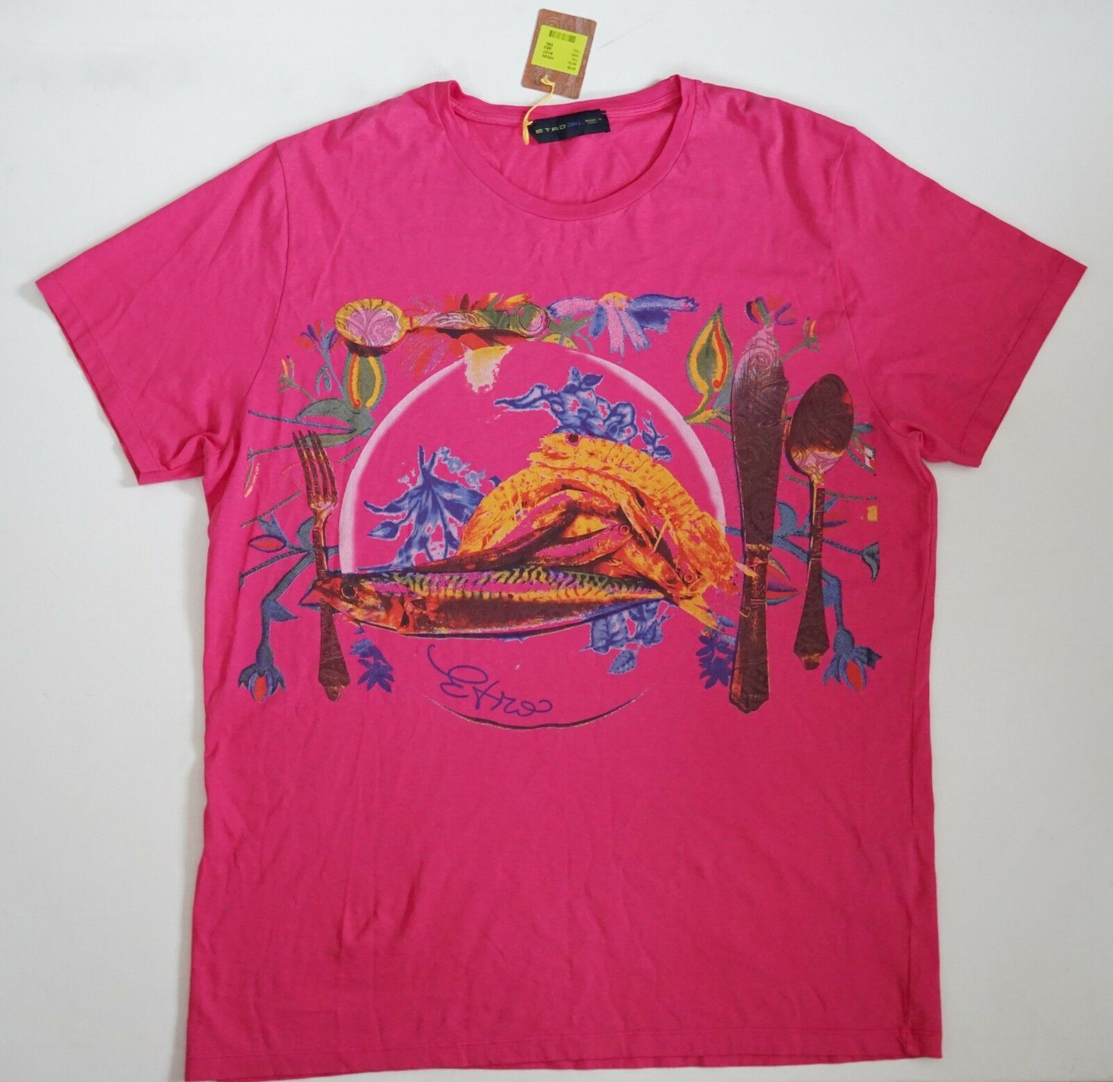 NWT Authentic ETRO Pink Multi 100% Cotton Printed Short-Sleeve T-Shirt 2XL 3XL