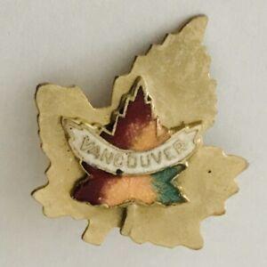 Vancouver-Canada-Maple-Leaf-Souvenir-Pin-Badge-Rare-Vintage-N21