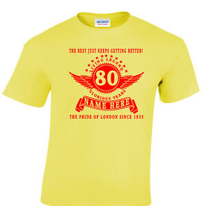 Image Is Loading Personalised 80th Birthday T Shirt Gift Choose Name