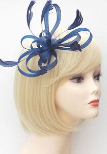 Navy Blue Fascinator Comb Hair Flower Feather Wedding Ladies Day ... 8f6980f1c34