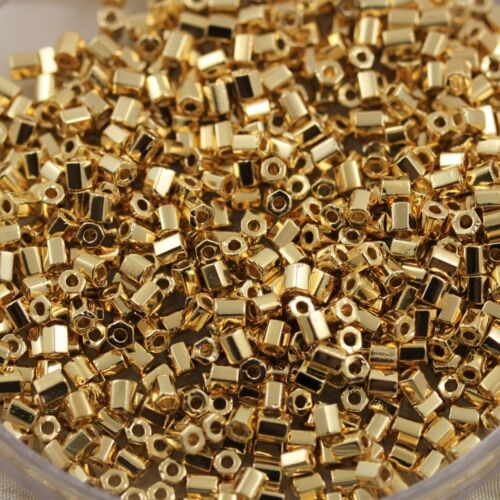 NEW!! Limited 8//0 2Cut Hex Cut 24Kt Gold Plated Matsuno seed beads 25grams