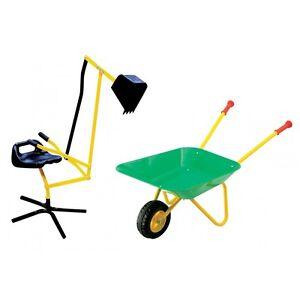 toy company 24346 sandkasten set sitz bagger mit kinder schubkarre gr n gelb ebay. Black Bedroom Furniture Sets. Home Design Ideas