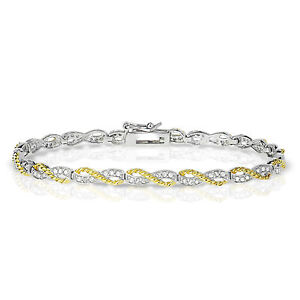 "Fine Jewelry Engagement & Wedding Sterling Silver 7"" Two-tone Infinity Diamond Bracelet"