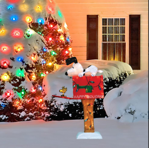 Mailbox Christmas Decorations.Details About 36 Lighted Animated Soft Tinsel Snoopy On Mailbox Sculpture Christmas Decor