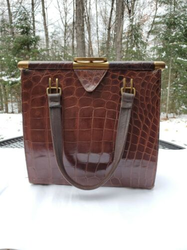 vintage Alligator Vassar purse with brown leather