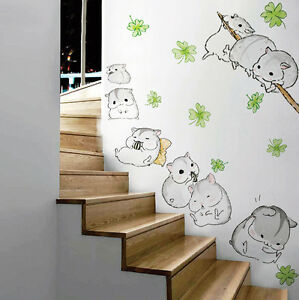 Cute Hamster Porch Wall Stickers Hallway Home Removable Vinyl Art - Wall decals hallway