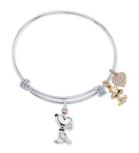 Unwritten Snoopy /& Woodstock Bangle Bracelet in Tri-Tone Stainless Steel