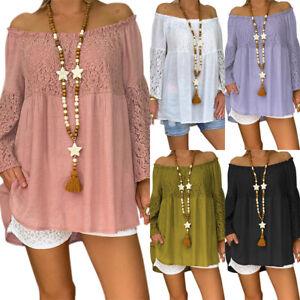 Women-Off-Shoulder-Lace-Blouse-Top-Long-Sleeve-Loose-Baggy-Plus-Size-T-shirt-Tee