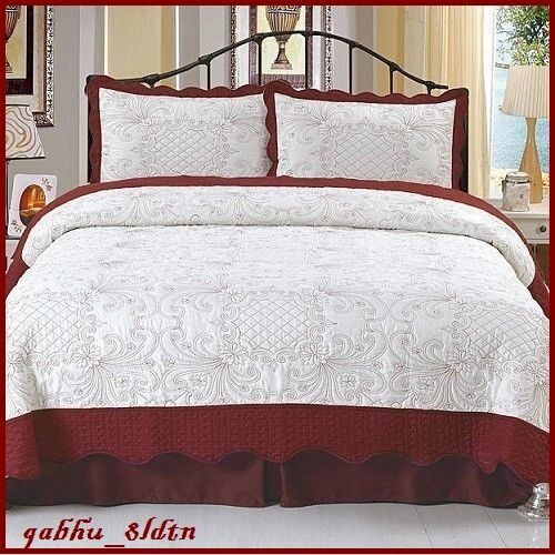 New Embroidered Quilt Set Full Queen Bed Topper Red Bedroom Bedspread Sham