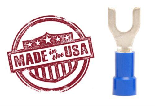 100 Blue Vinyl Insul 14-16 AWG Ga Spade Fork Wire Connector Terminal #6 Stud USA
