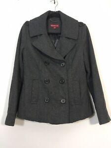 Merona-Pea-Coat-Women-Size-Medium-Gray-Double-Breasted-Wool-Blend-Jacket