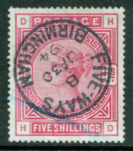 GB-QV-1883-5-5s-Rose-Five-Ways-Birmingham-SOTN-SG180-Very-Fine-Used-VFU