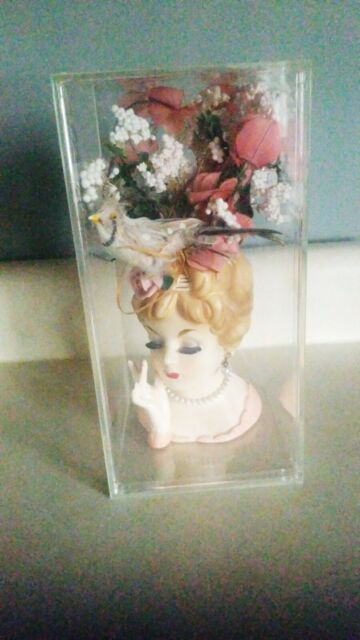 """1961 Inarco JAPAN 6"""" Lady Head Vase E-193, Rose in Hair"""