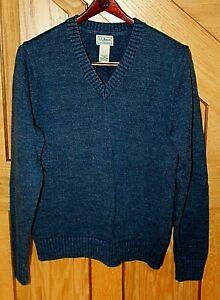 L.L. Bean Men's V-Neck Sweater Size L-REG Blue 100% Cotton