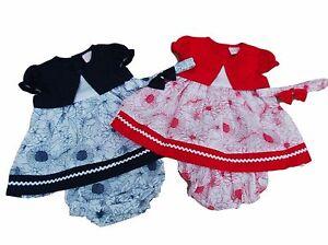 BNWT Baby girls red or navy bolero flower summer dress knickers hairband 6 sizes