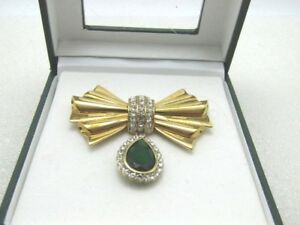 Avon-Rhinestone-Bow-and-Dangle-Brooch-Signed-2004-HS-Avon-2-1-8-034-In-Box
