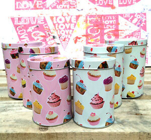 3 X Small Cupcake Canister Set Retro Kitchen Storage Caddy