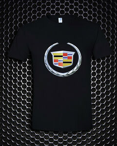 Cadillac Emblem Logo Racing Auto Moto Super Car Black T-Shirt S M L XL 2XL 3XL