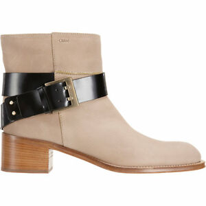 $1150 CHLOE Buckle Strap Ankle Riding Boot Motorcycle Biker Bootie 6.5-36.5