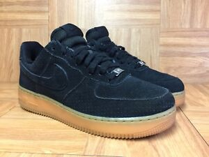 super popular 67763 ea2d5 Details about RARE🔥 Nike Air Force 1 '07 Black Suede Gum Light Brown Sz  9.5 749263-002 Womens