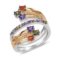 Multi Color Simulated Diamond Bypass Designer Ring Size 6 Red Green Blue Purple