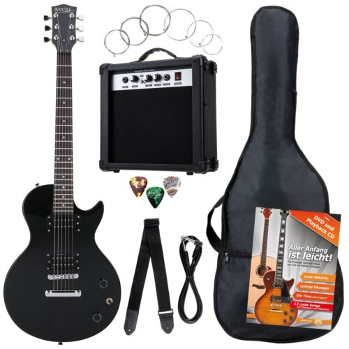 7-teiliges Rocktile Bangers E-Gitarren Set LP Verstärker Gigbag Gurt Schwarz