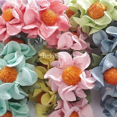 25 Mulberry Paper Flowers Scrapbook Cards Basket Dolls Art Craft Supply G1-426