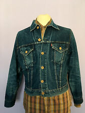 VINTAGE 1960s LEVI  BIG E BUTTON UP BLUE DENIM WESTERN JACKET SLIM 38 CHEST