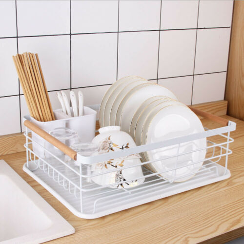 Kitchen Dish Drainer Rack Bowl Plate Cutlery Holder With Wooden Handle Drip Tray