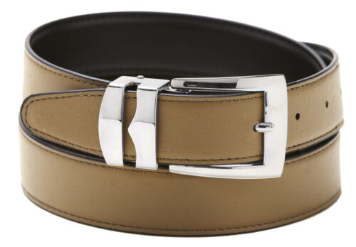 Men/'s Belt Reversible Bonded Leather Belts Silver-Tone Buckle Over 20 Colors
