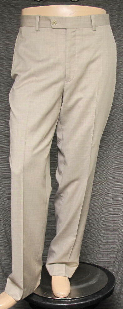 ARISTO 18 Men's Stirling Flat Front Luxury Wool Trouser 36 x 32 in Wheat
