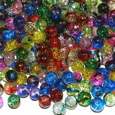 GL2492sp Assorted Color 8mm Round Metallic Drawbench Crackle Glass Bead 160-gram