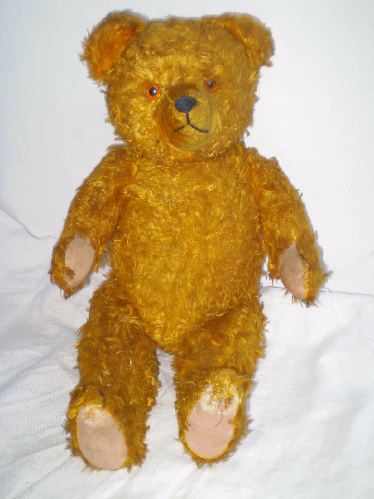 H19 '' RARE- antique-teddy-bear-with-straw-while-bending-sounds GLASS EYES