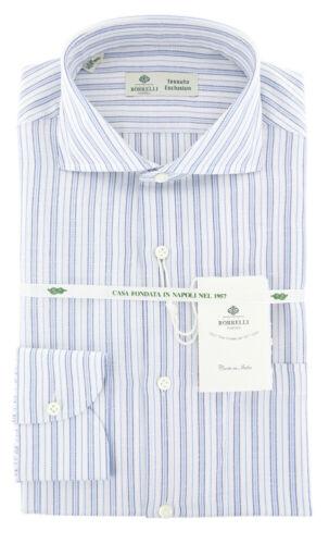 $500 Luigi Borrelli Blue Striped Shirt - Extra Slim - 15.75/40 - (270170lb-ev08)