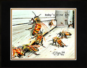Matted-Honeybee-Art-Print-034-Busy-Bees-034-Honey-Bees-On-Bee-Box-8-034-x10-034-by-Roby-Baer