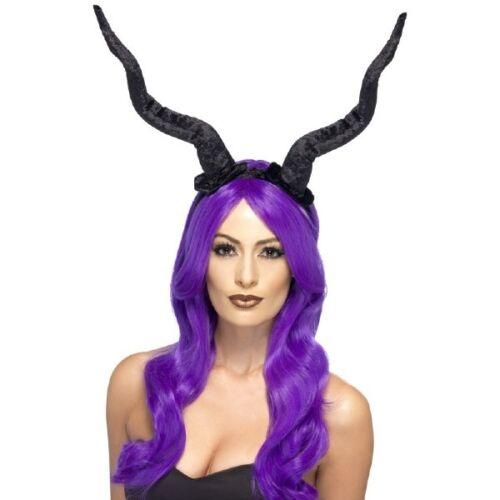 DEMON HORNS HEADBAND FLEXIBLE EVIL DEVIL FICENT WITCH COSTUME BLACK LONG HORNS