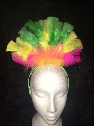 LOVEBIRD//BUDGIE Fancy Dress Headdress Feather Hairband Costume GREEN//YELLOW//PINK