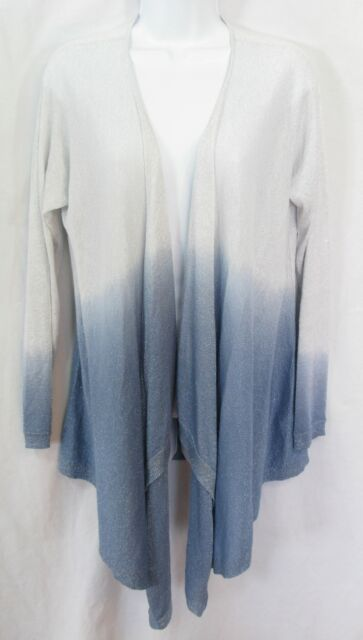 DKNY Size P S Blue Ombre Metallic Sparkle Wrap Open Front Cardigan Sweater ef45a5908