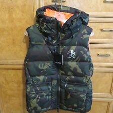 Women's Ralph Lauren polo RLX golf down puffer Vest hood Camo sz L new NWT $298