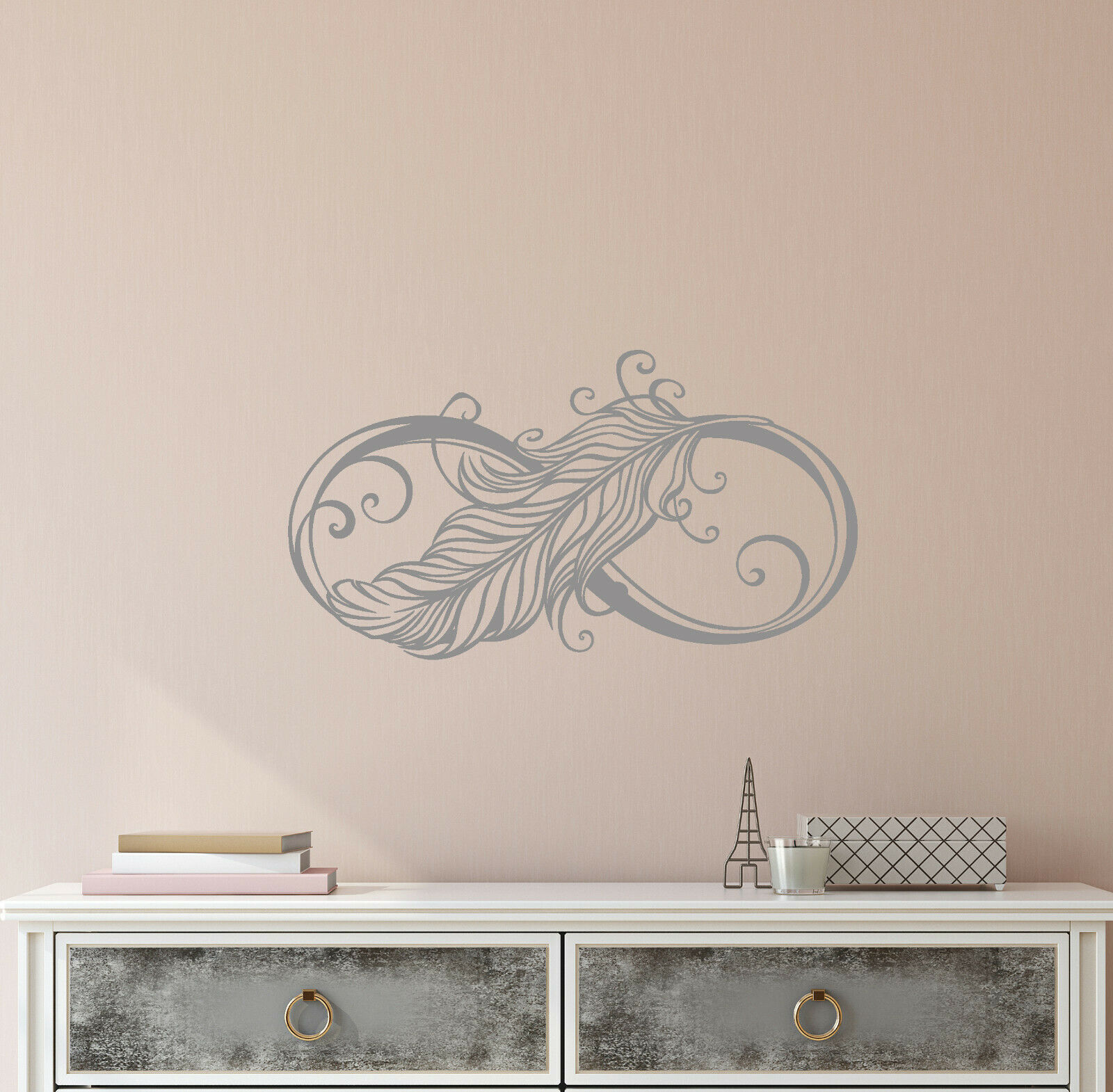 Vinyl Wall Decal Infinity Sign Symbol Ornament Bird Feather Stickers (4066ig)