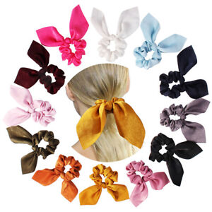 New-Satin-Rabbit-Ear-Hair-Tie-Band-Scrunchies-Big-Bow-Elastic-Ponytail-Wrap-Rope