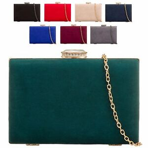 Ladies-Suede-Style-Box-Clutch-Bag-Evening-Bridal-Wedding-Handbag-Purse-KZ672