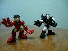 Super Hero Squad Iron Man Mark V Tony Stark No Helmet & War Machine Marvel
