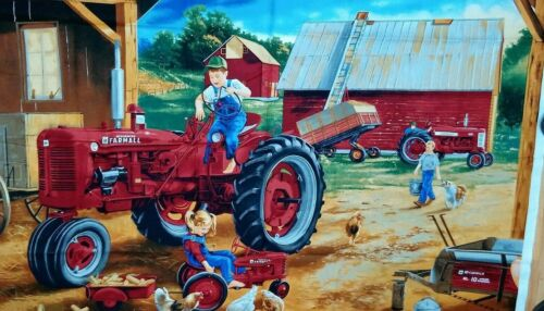 VINTAGE QUILT PANEL FARMALL TRACTOR PREMIUM  100/% COTTON  QUILTING    ONLY  9.90