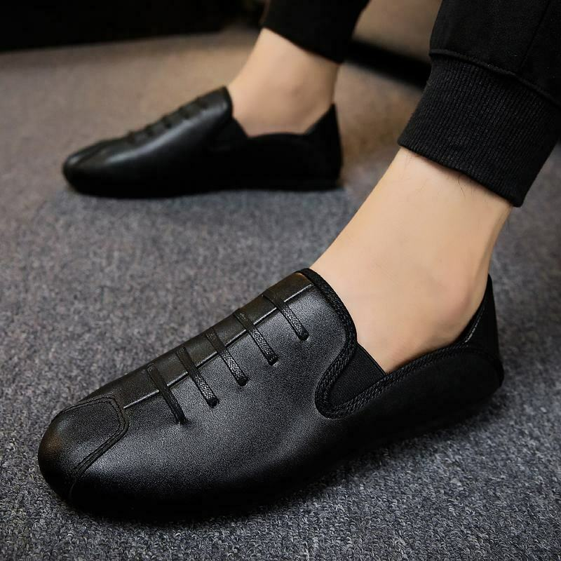 Mens Lace Up Slip On Solid Moccasin Gommino Loafers Drivers Casual Comfort shoes